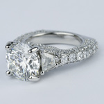 Trapezoid Diamond Engagement Ring with Milgrain Detail (4.50 ct.) - small angle 2