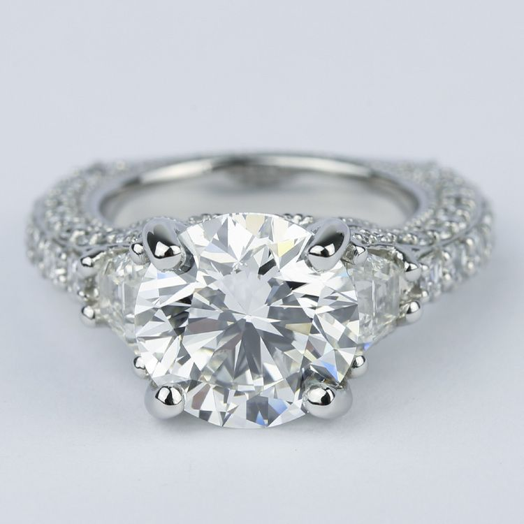 Trapezoid Diamond Engagement Ring with Milgrain Detail (4.50 ct.)