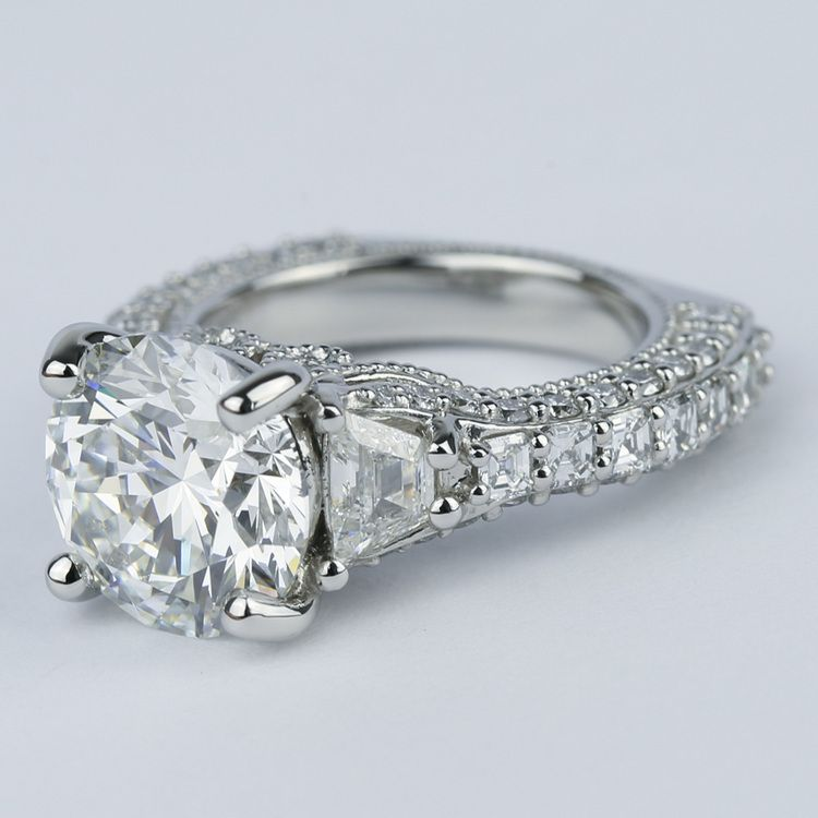 Trapezoid Diamond Engagement Ring with Milgrain Detail (4.50 ct.) angle 2