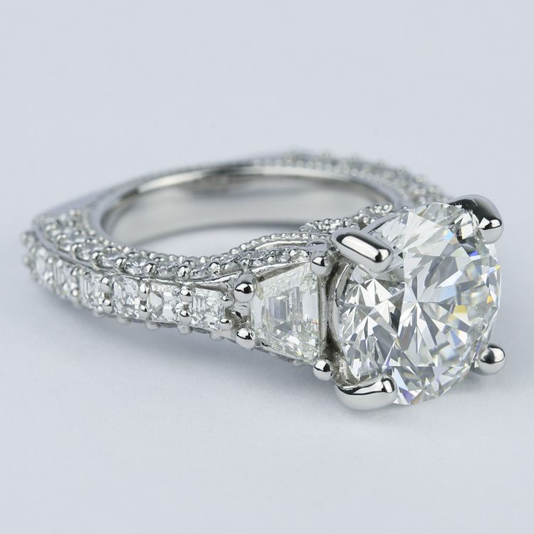 Trapezoid Diamond Engagement Ring with Milgrain Detail (4.50 ct.) angle 3