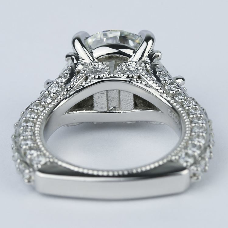 Trapezoid Diamond Engagement Ring with Milgrain Detail (4.50 ct.) angle 4