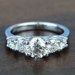 Custom Trellis Five Diamond Engagement Ring In White Gold - small