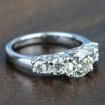 Custom Trellis Five Diamond Engagement Ring In White Gold - small angle 3