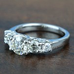 Custom Trellis Five Diamond Engagement Ring In White Gold - small angle 2