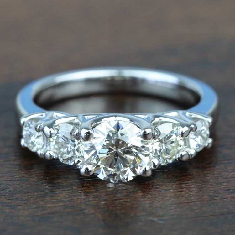 Custom Trellis Five Diamond Engagement Ring In White Gold
