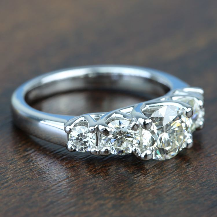 Custom Trellis Five Diamond Engagement Ring In White Gold angle 3