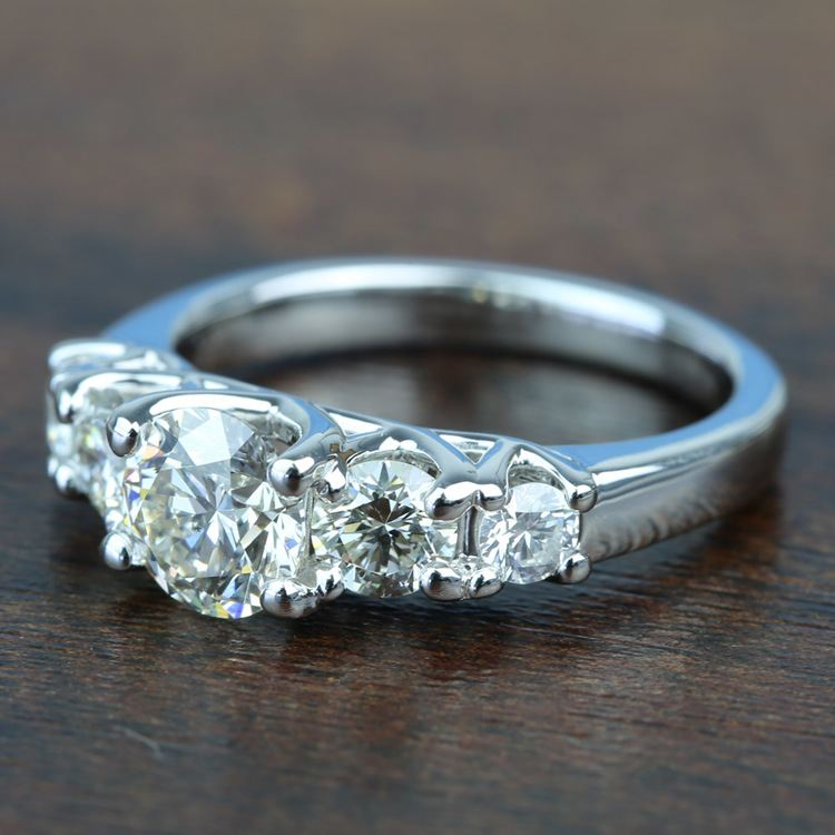 Custom Trellis Five Diamond Engagement Ring In White Gold angle 2