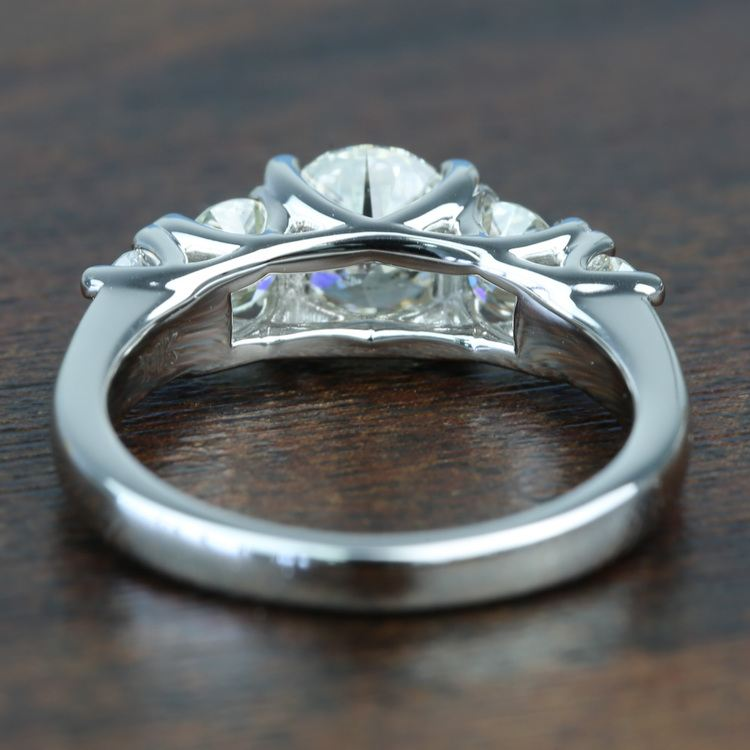 Custom Trellis Five Diamond Engagement Ring In White Gold angle 4