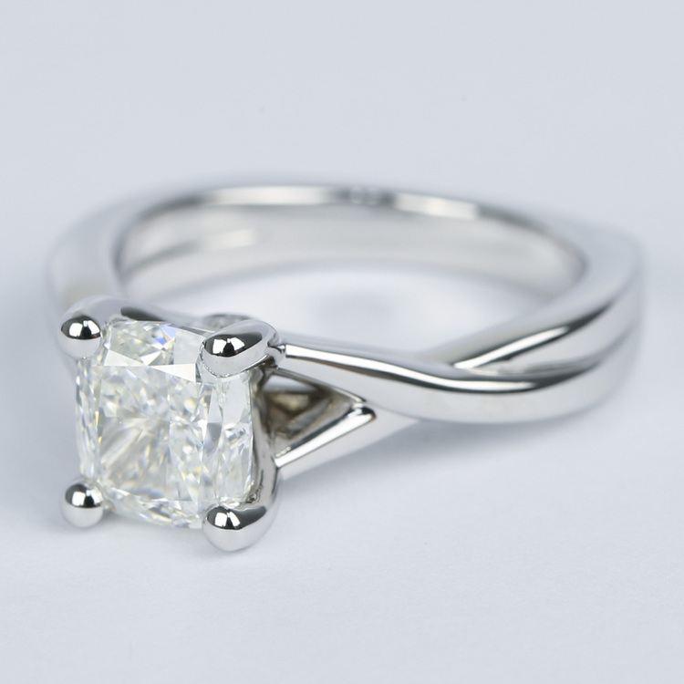 Twisted Split Shank Cushion Diamond Engagement Ring (1 Carat) angle 2