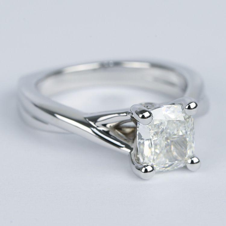 Twisted Split Shank Cushion Diamond Engagement Ring (1 Carat) angle 3