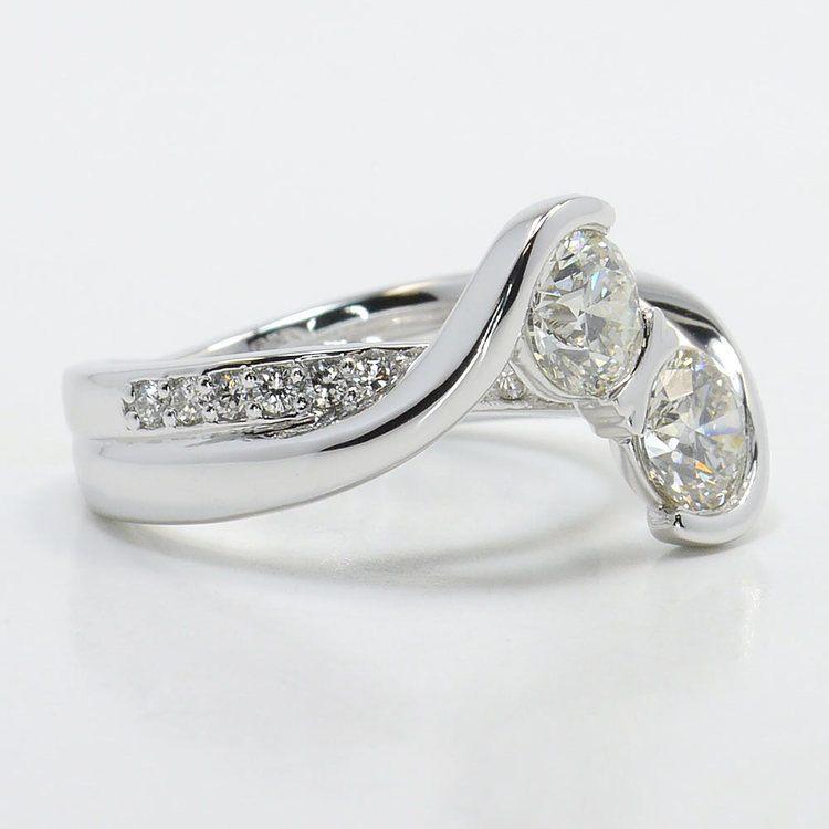 Custom Two Stone Bezel Diamond Bridge Engagement Ring  angle 3