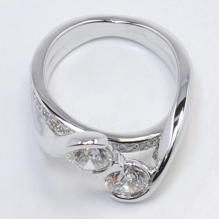 Custom Two Stone Bezel Diamond Bridge Engagement Ring  angle 4