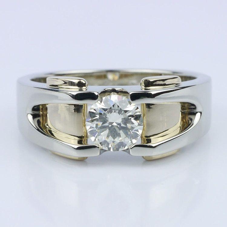 Custom Two Tone 14K Men's Wedding Ring