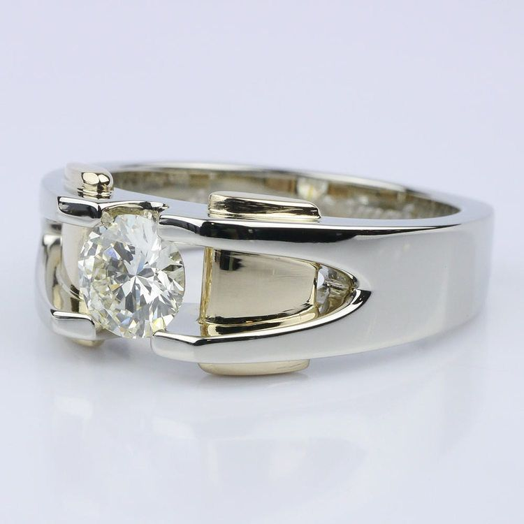 Custom Two Tone 14K Men's Wedding Ring angle 2