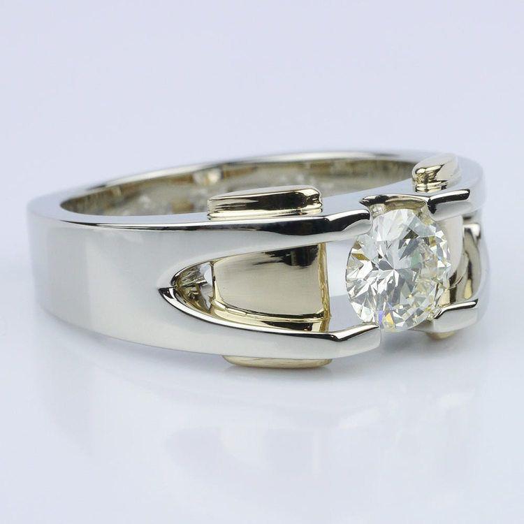 Custom Two Tone 14K Men's Wedding Ring angle 3