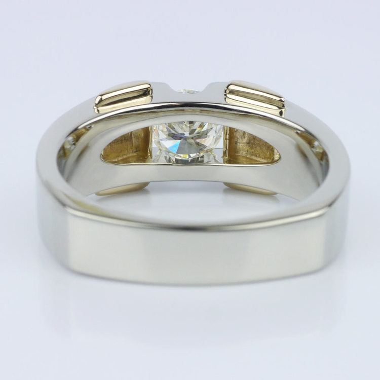 Custom Two Tone 14K Men's Wedding Ring angle 4