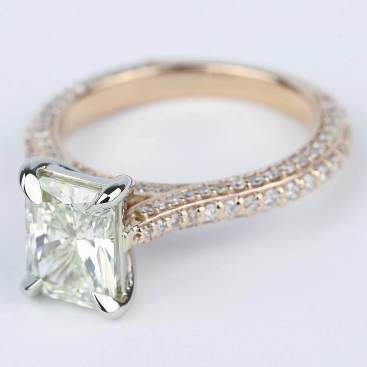 Radiant Diamond Engagement Ring in Rose Gold & Platinum angle 2