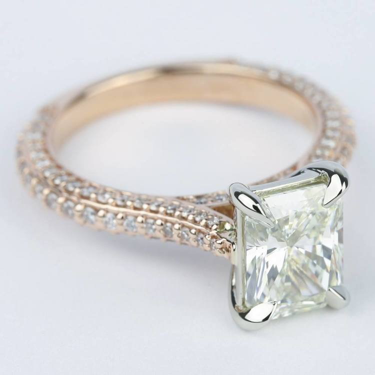 Radiant Diamond Engagement Ring in Rose Gold & Platinum angle 3