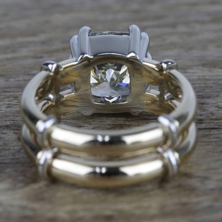 Custom Two-Tone Split Shank Cushion Diamond Ring (4 Carat) angle 4