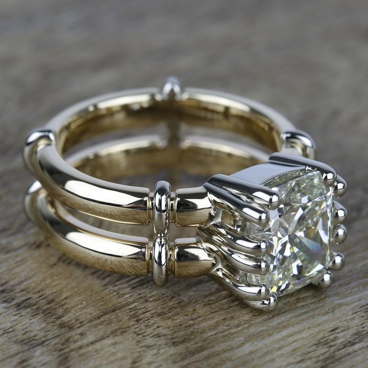 Custom Two-Tone Split Shank Cushion Diamond Ring (4 Carat) angle 3