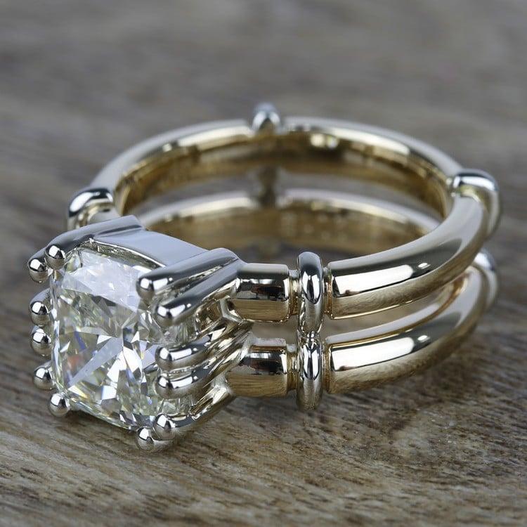 Custom Two-Tone Split Shank Cushion Diamond Ring (4 Carat) angle 2
