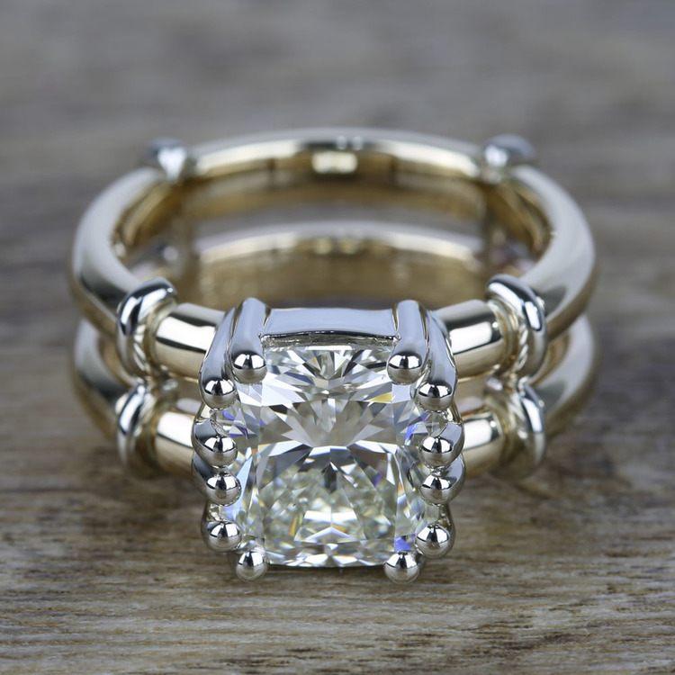 Custom Two-Tone Split Shank Cushion Diamond Ring (4 Carat)