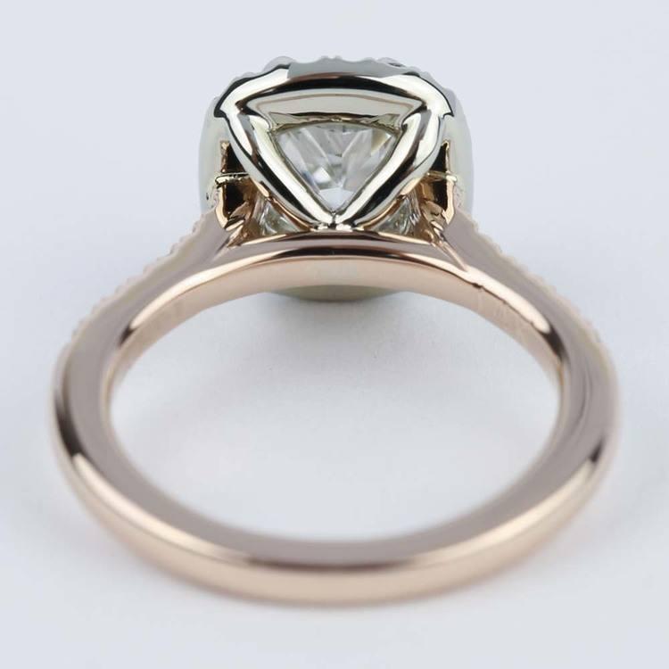 Custom Two-Tone Cushion Diamond Halo Engagement Ring angle 4