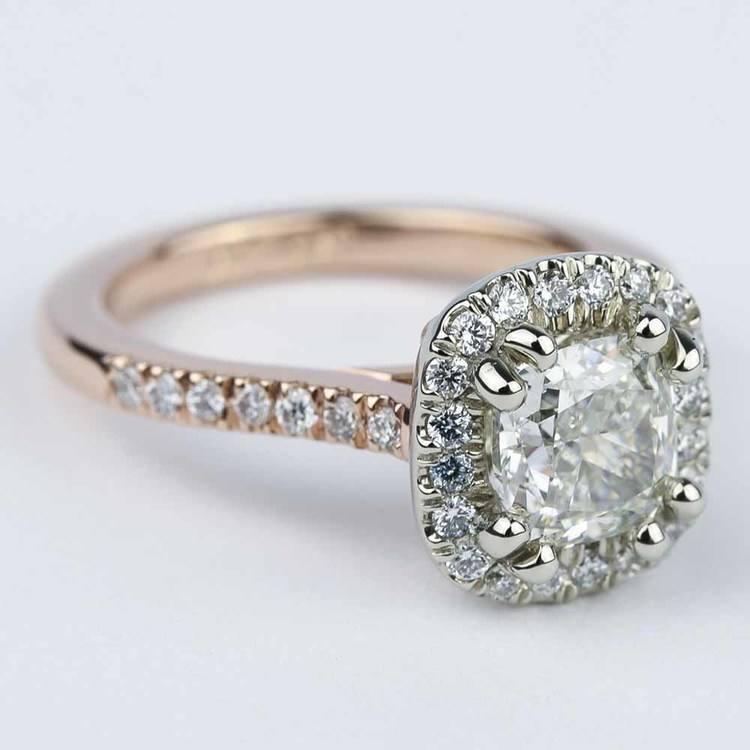 Custom Two-Tone Cushion Diamond Halo Engagement Ring angle 3