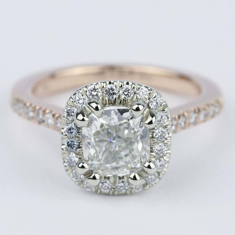 Custom Two-Tone Cushion Diamond Halo Engagement Ring