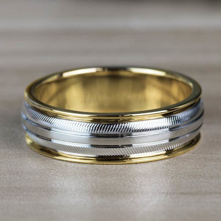 Custom Two Toned Sectional Men's Wedding Ring in White & Yellow Gold