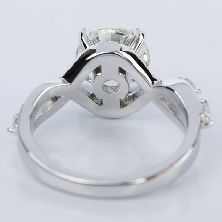 Custom Vine Diamond Engagement Ring in 14K White Gold angle 4