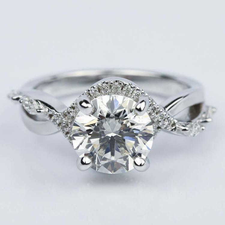 Custom Vine Diamond Engagement Ring in 14K White Gold