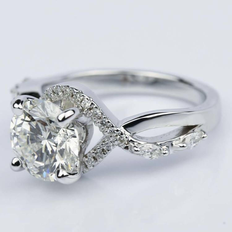 Custom Vine Diamond Engagement Ring in 14K White Gold angle 2