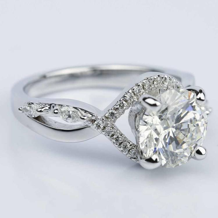 Custom Vine Diamond Engagement Ring in 14K White Gold angle 3