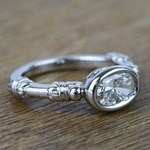 Custom Vintage 0.90 Carat Oval Diamond Engagement Ring - small angle 3