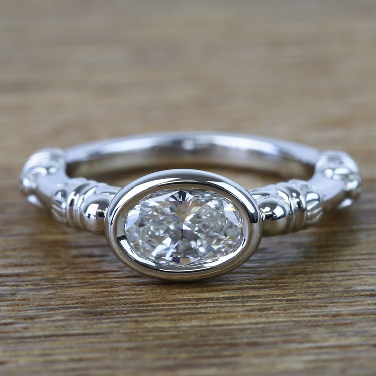 Custom Vintage 0.90 Carat Oval Diamond Engagement Ring
