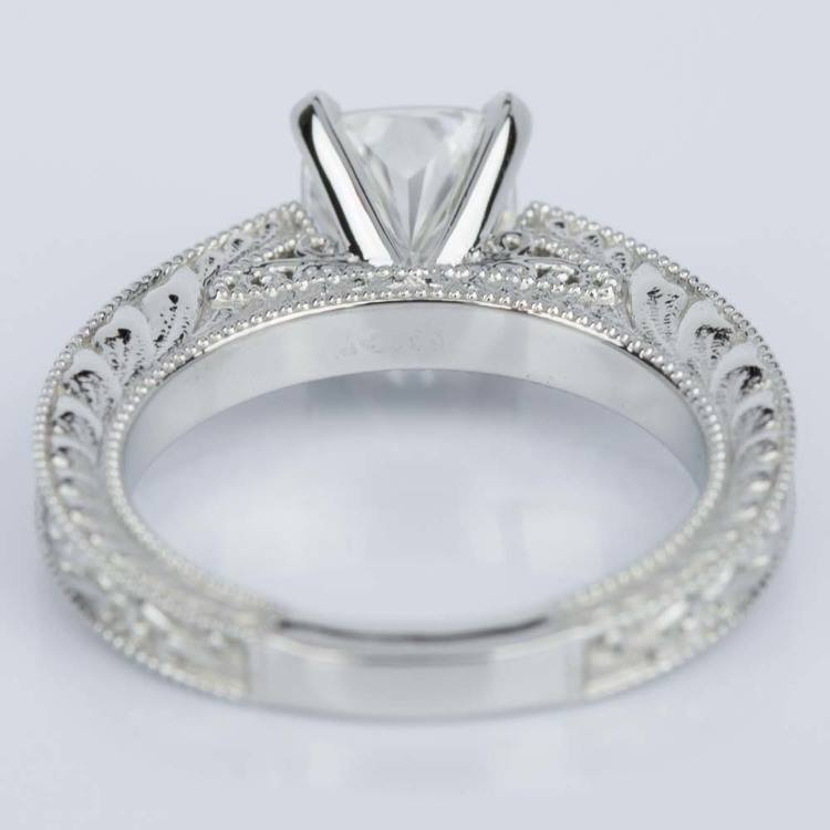Custom Vintage Floral Engagement Ring with Milgrain (1.53 ct.) angle 4
