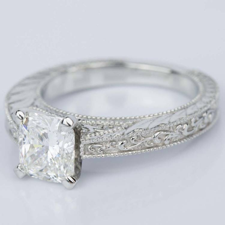 Custom Vintage Floral Engagement Ring with Milgrain (1.53 ct.) angle 2