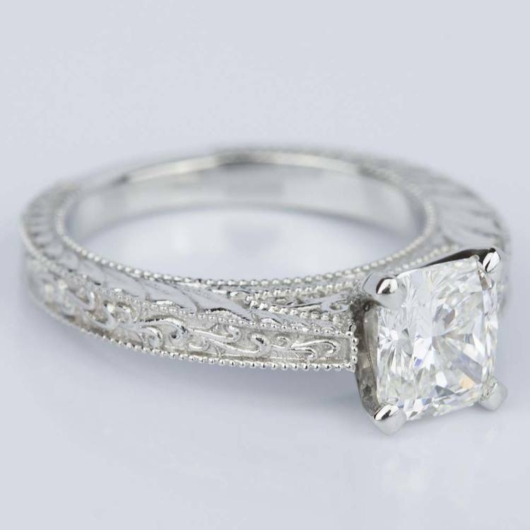 Custom Vintage Floral Engagement Ring with Milgrain (1.53 ct.) angle 3