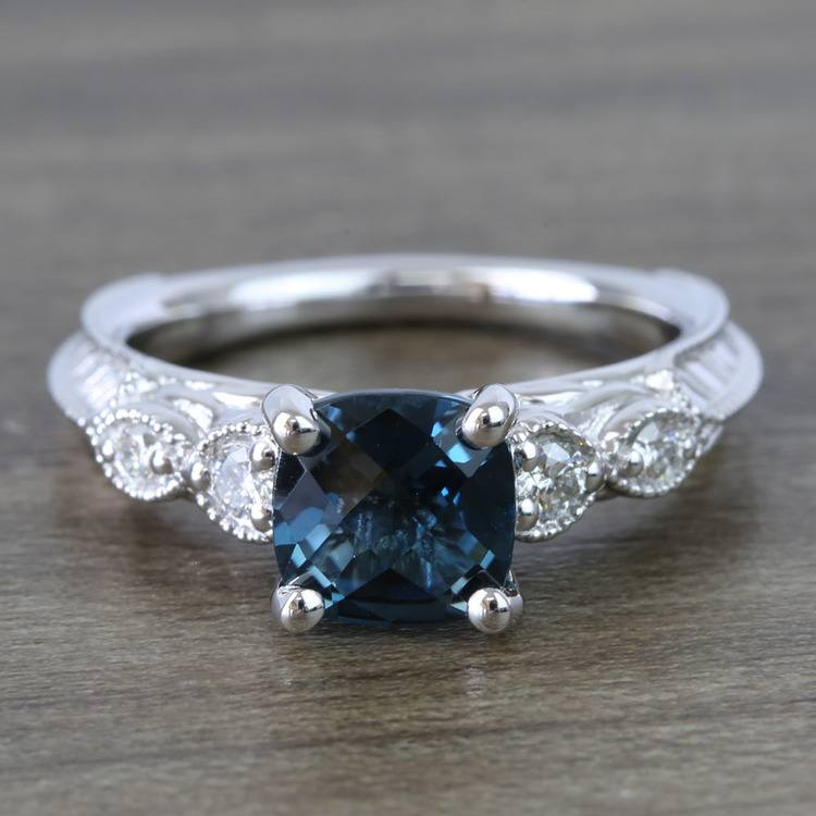 Custom Vintage London Blue Topaz Engagement Ring