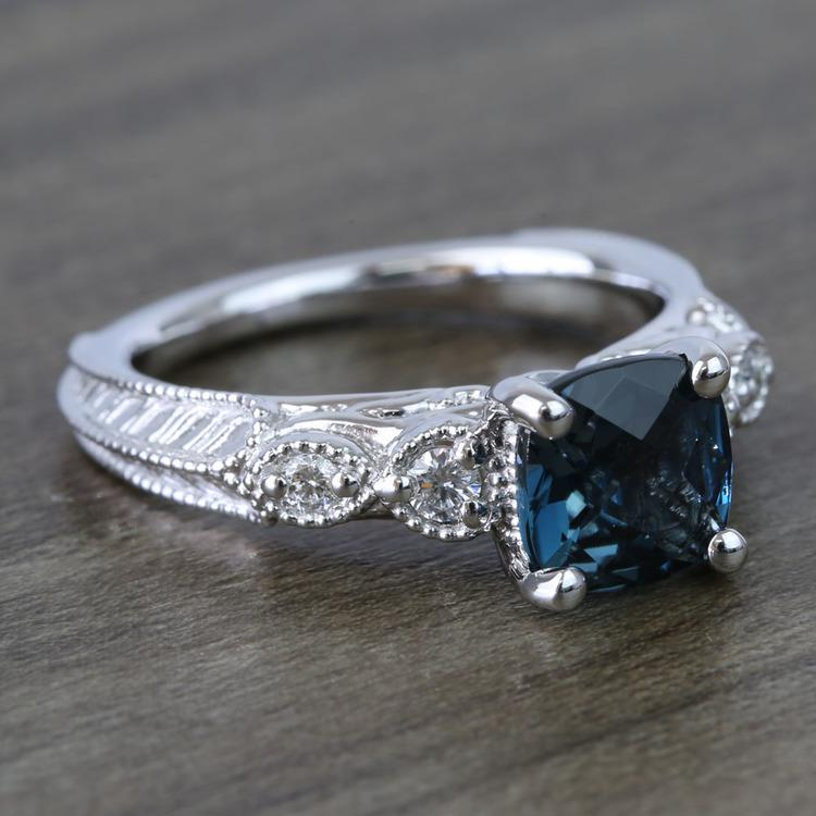 Custom Vintage London Blue Topaz Engagement Ring angle 3