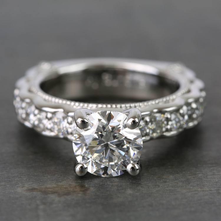 Custom Vintage Milgrain Round Diamond Engagement Ring