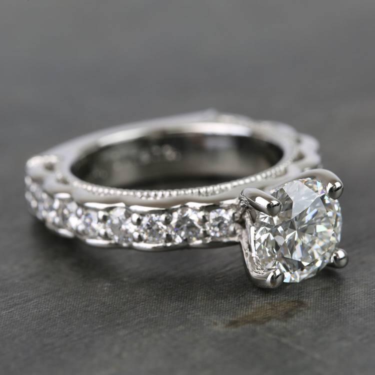 Custom Vintage Milgrain Round Diamond Engagement Ring angle 3