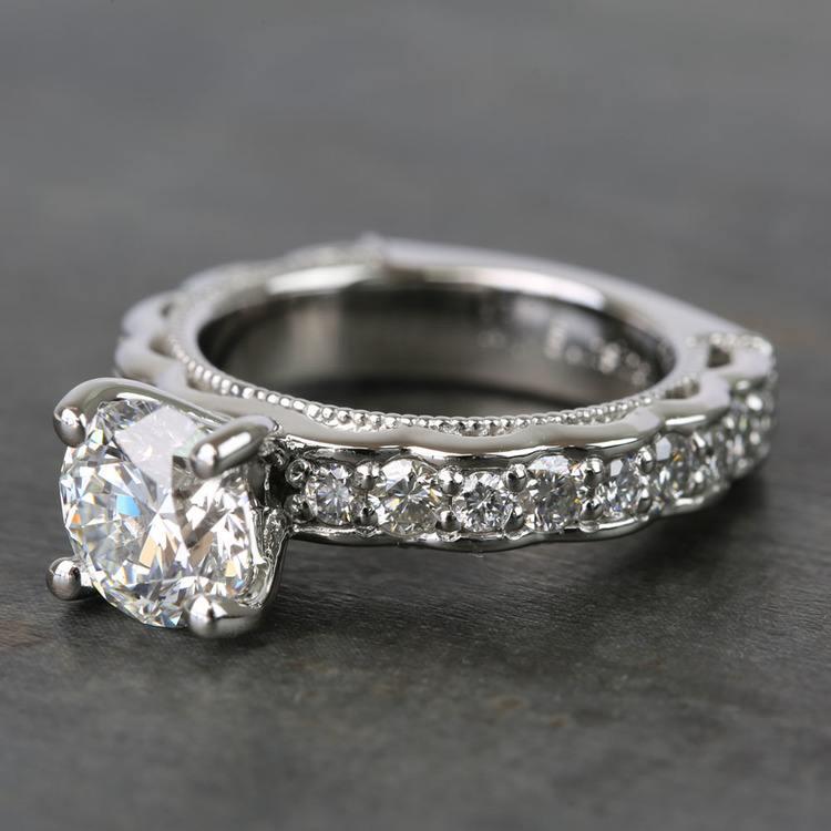 Custom Vintage Milgrain Round Diamond Engagement Ring angle 2