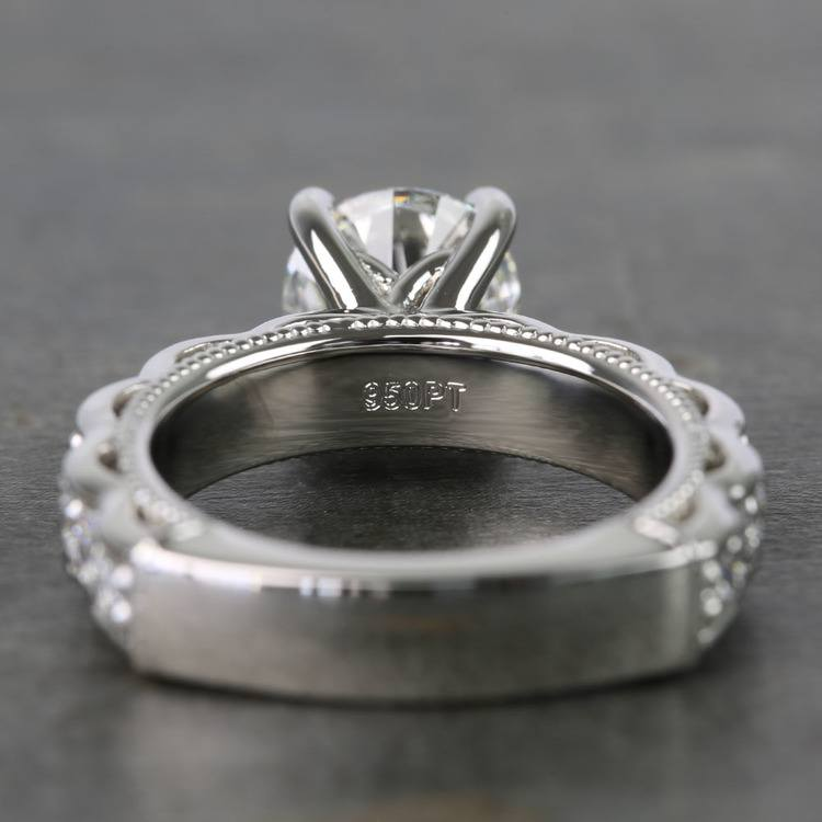 Custom Vintage Milgrain Round Diamond Engagement Ring angle 4