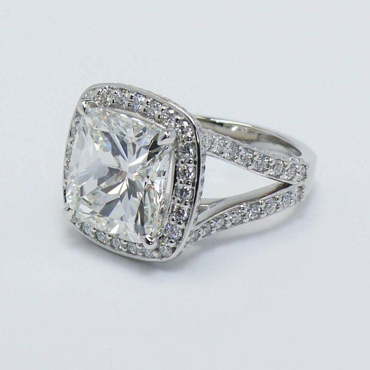 Cushion Custom Vintage Halo Diamond Ring (1.52 Carat) angle 3