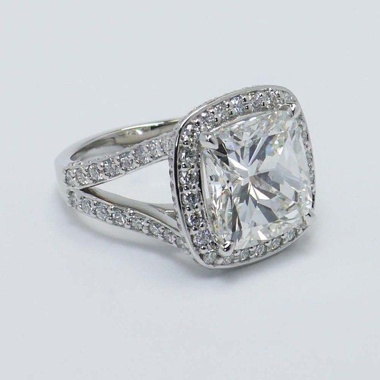 Cushion Custom Vintage Halo Diamond Ring (1.52 Carat) angle 4