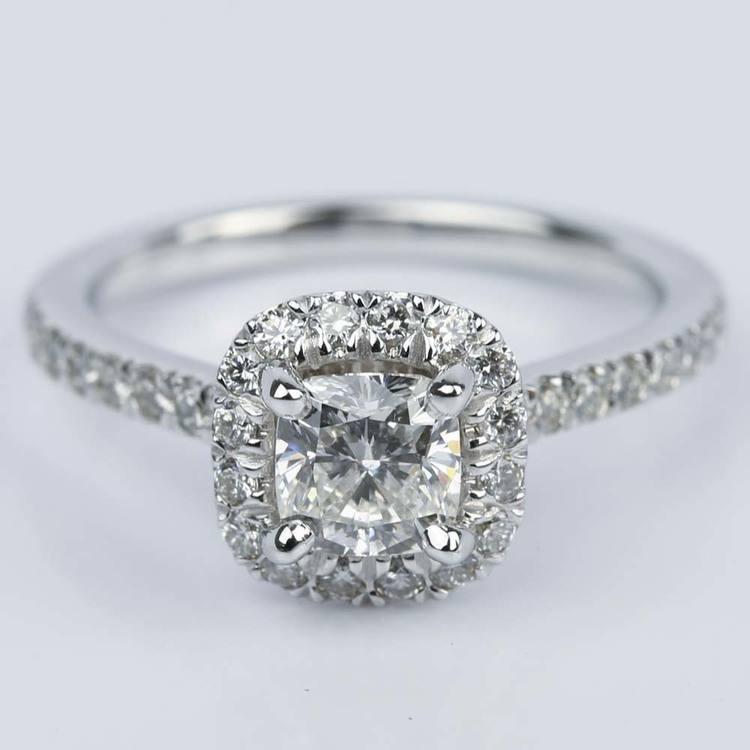 Custom Micropave Cushion Diamond Engagement Ring (0.81 ct.)