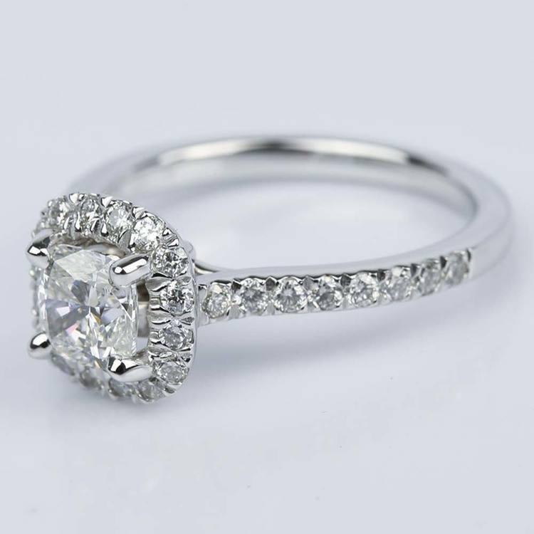 Custom Micropave Cushion Diamond Engagement Ring (0.81 ct.) angle 2