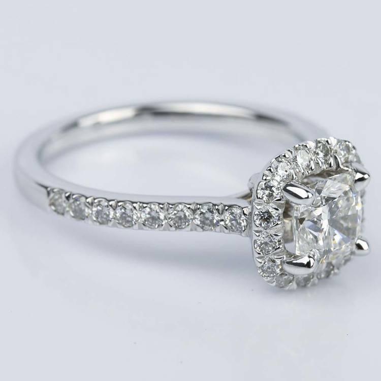 Custom Micropave Cushion Diamond Engagement Ring (0.81 ct.) angle 3